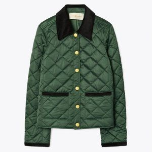 TORY BURCH Deep Emerald Quilted Barn Jacket